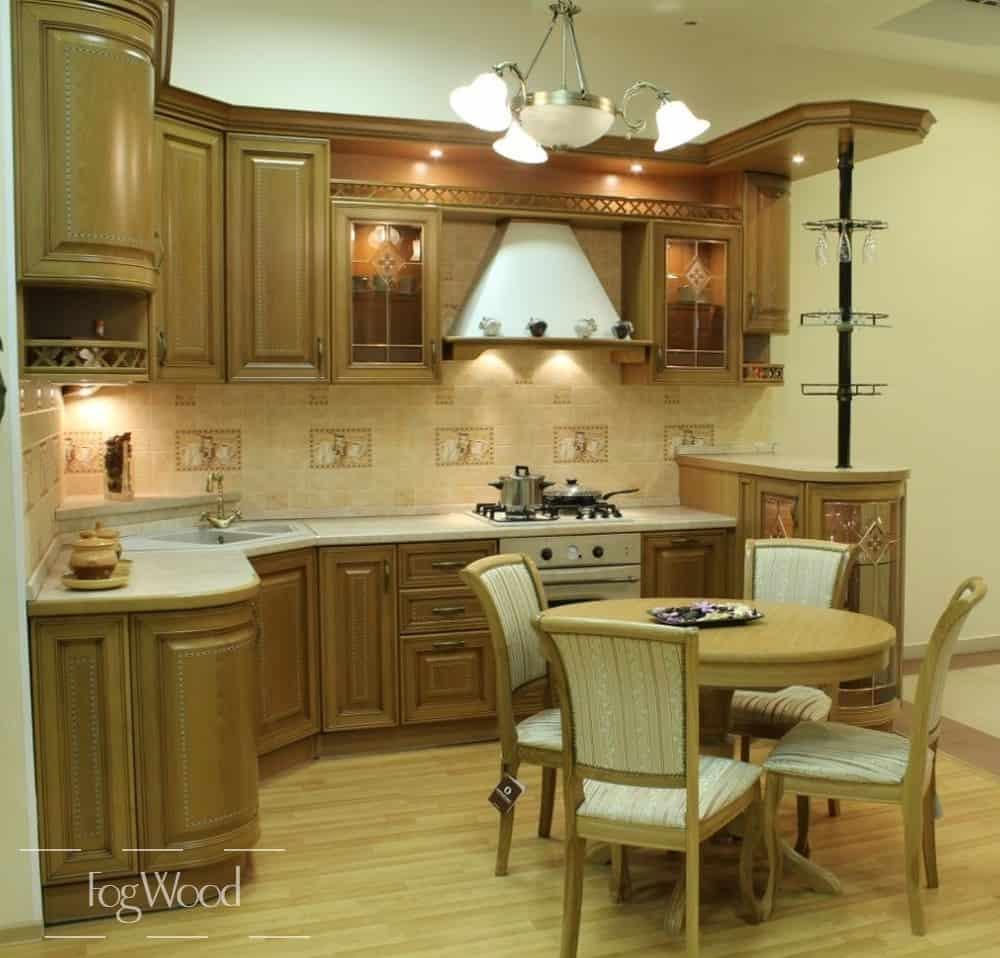 Кухня из массива дерева «Модель 10» по индивидуальным размерам