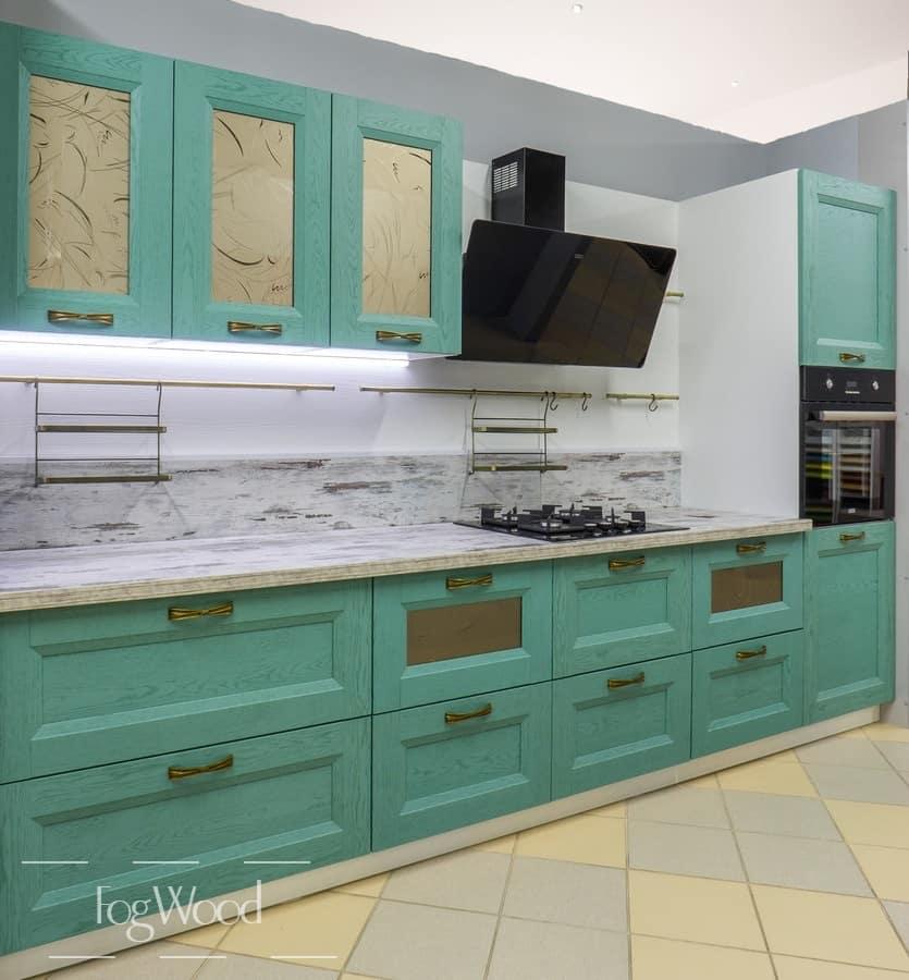 Кухня из массива дерева «Модель 7» по индивидуальным размерам