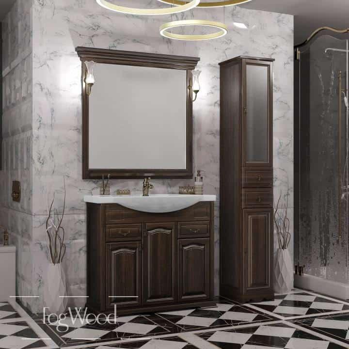 Мебель для ванной из массива дерева «Модель 11» по индивидуальным размерам