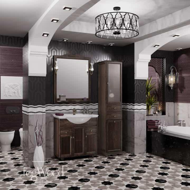 Мебель для ванной из массива дерева «Модель 2» по индивидуальным размерам